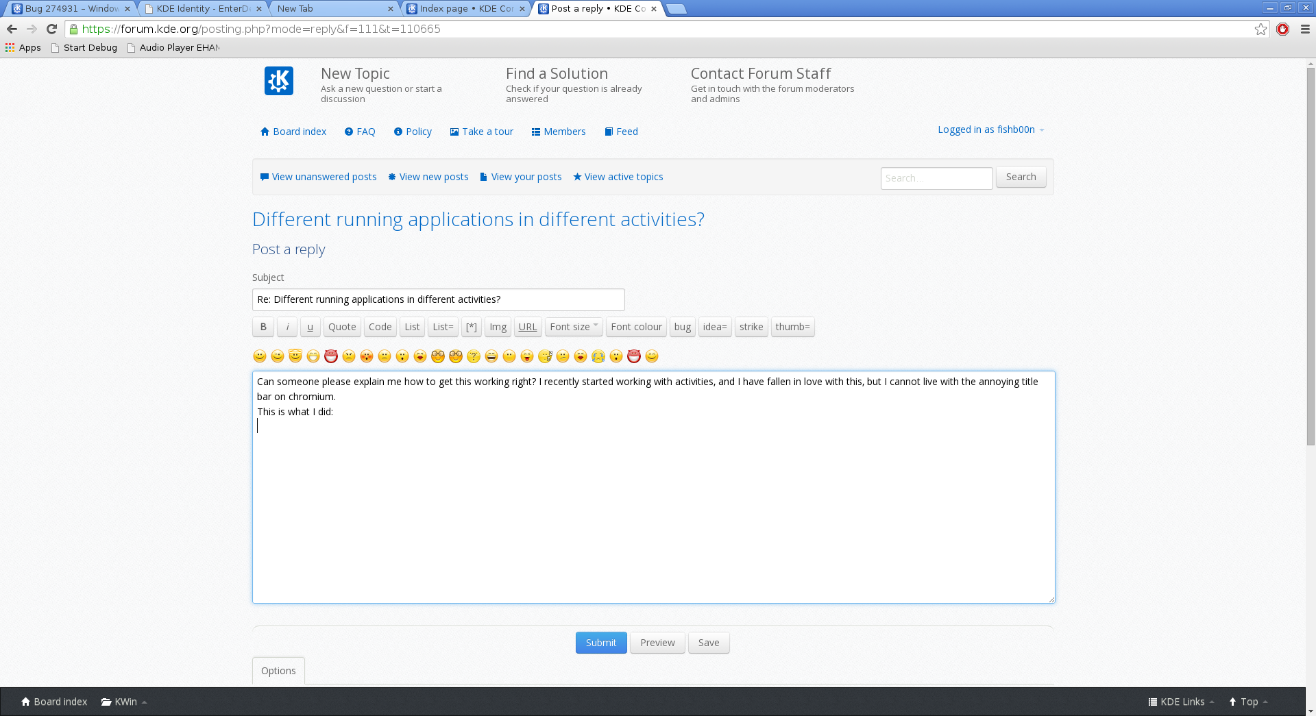 Different running applications in different activities? • KDE